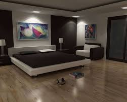 Futuristic White Floating Beds For Relaxing Bedroom Ideas With Black Bed Sheet And Wooden Flooring