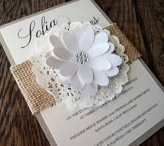 Chic Wedding Rustic Burlap Lace White Invitations