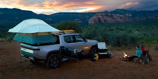 100 Pickup Truck Tent Camper Rivian Showcases R1T Electric Pickup Truck As A Camper