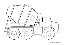 Coloring Download Construction Vehicle Pages Concrete Truck Transportation For Kids Printable Free