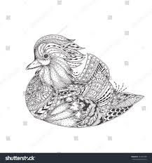 Hand Drawn Mandarin Duck With Ethnic Floral Doodle Pattern Coloring Page Zendala