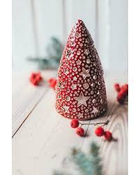 Ceramic Red Christmas Tree Lantern Night Light House Decoration Top Gift 2018