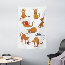 wandteppich wohnzimmer schlafzimmer wandtuch seidiges satin wandteppich abakuhaus rechteckig katz und maus katzen herum spielen kaufen