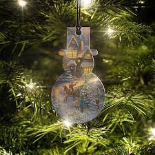 Thomas Kinkade Christmas Tree Cottage by Thomas Kinkade Spirit Of Christmas Snowman Shaped Hanging Acrylic