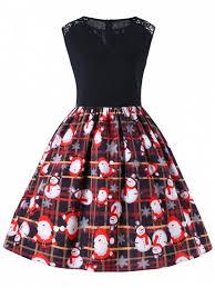 Outfits Christmas Plus Size Sleeveless 50s Swing Dress