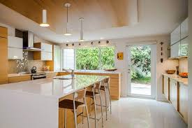 Interior White Wooden Chairs Chrome Curves Faucet Top Shelf Grey Ceramic Subway Backsplash Small Mid Century Kitchen