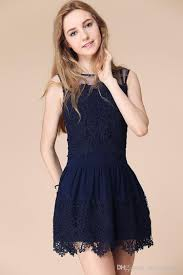 embroidery lace dresses mesh patchwork high waist elastic formal