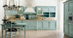Kitchen Theme Ideas Blue by Classic Kitchen Decor Using Blue Cabinets Color And Wooden Chimney