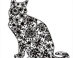 Zentangle Cat Lover Gift Cut File Silhouette Clip Art Digital Printable Watercolor Clipart Doodle Instant