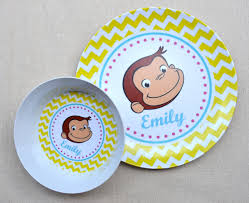 Curious George Toddler Bedding by Personalized Melamine Plate Bowl Curious George