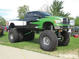 Lifted Green Color Dodge Ram