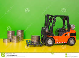 Forklift Truck Delivering Coins Stock Photo - Image Of Income ...