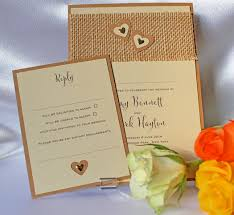 Rustic Hessian Wedding Invitation With Natural Strip And Two Layered Hearts Gold Metal