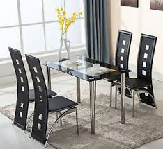 Dining Room Chairs For Glass Table by 5 Piece Glass Dining Table Set 4 Leather Chairs Kitchen Room