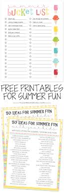 Keep Up With Your Summer To Do List This Free Printable Bucket