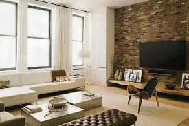 Astounding Industrial Living Room Grey Rug Rustic Decor Brick Wall Wooden Black Chairs White Letter L