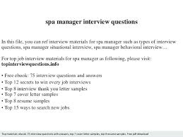 Spa Resume Sample Manager Interview Questions Medical Receptionist