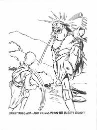 David Bring Down The Giant In Story Of King Saul Coloring Page