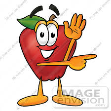 Clip art Graphic of a Red Apple Cartoon Character Waving and Pointing by toons4biz