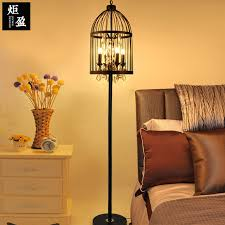 American Retro Crystal Black Color Wrought Iron Cage Floor Lamp Living Room Dining Standing