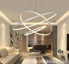 Modern Circular Ring Pendant Lights 3 2 1 Circle Rings Acrylic Aluminum Body Led Lighting Ceiling Lamp Fixtures Contemporary Hanging Lamps