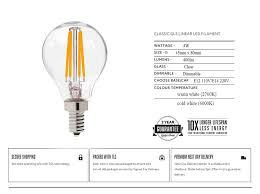 retro led filament light bulb 4w e12 e14 base edison g45 clear