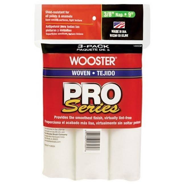 "Wooster Roller Covers Polypropylene Paint Rollers - 3/8 "" Nap, 9"""