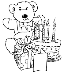 Happy Birthday Teddy Bear and Present and Happy Birthday Cake Coloring Page