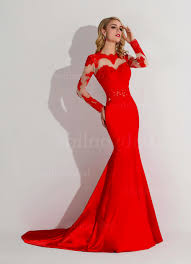 red mermaid prom dress with sleeves naf dresses