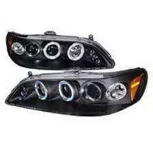 02 honda accord black halo projector led headlights