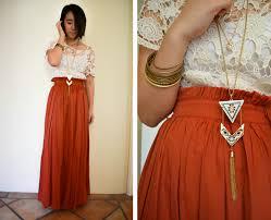 Boho Bohemian Orange Burnt Hippy Lace Maxi Skirt Outfit Style Inspiration