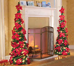 Lighted Poinsettia Pull Up Christmas Tree