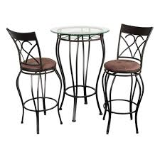 Fancy Glass Top Piece Pub Table Set And Chairs Dining Style ...