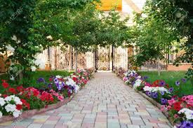 Colorful Brick Footpath With Flowers At The Backyard Stock Photo ... Garden Center Workshops 2017 Pemberton Farms Marketplace Small Vegetable Design Ideas Designing A With Raised Beds Explore The Backyard Rancho Los Cerritos Historic Site Diy Yard Art And Homemade Outdoor Crafts Earth Day In Be An Friendly Gardener 17 Low Maintenance Landscaping Chris Peyton Lambton Patio Designs Smart Sneaky Storage 41 Stunning Pictures From Tootsie Time I Love Backyard Flower Garden Red Ponds Archives Glenns Gardening Blog Kale Beets Growing Odleynderworks 51 Front