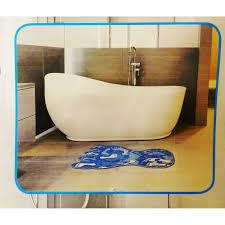 badematte fuß badvorleger 73x47cm blau weich antirutsch matte bad dusch garnitur