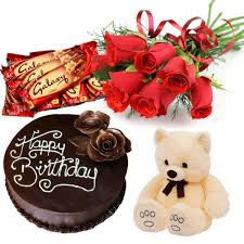 12 Red Roses Bunch half Kg Chocolate Cake 9 inch Teddy and 3 Assorted Galaxy Chocolates