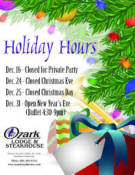 Osh Christmas Trees by The Holiday Hours At The Ozark Steakhouse U2022 Heartland Community