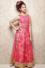 banglori silk and net party wear anarkali suit in pink colour