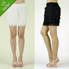 white knitted crochet tiered lace layered high waist mini a line skirt