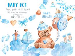 Baby Boy Clipart Set Watercolor New Baby Clip Art Hand Drawn