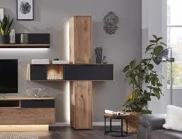 interliving wohnzimmer serie 2005 hängeschrank set mit beleuchtung asteiche anthrazitfarbenes glas eine klappe zwei