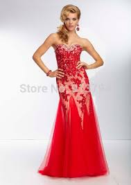 Famous Design Sweetheart Red Tulle Prom Dresses 2014 Applique Hollow Out Night Dress MLP 108