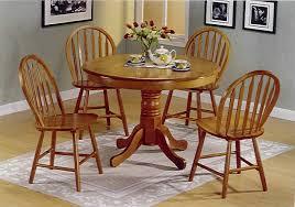 Round Oak Pedestal Kitchen Dining Table Set