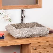vasque à poser en marbre naples rectangle grise taupe d 50 cm
