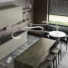 gbly led pendelleuchte esstisch 45w dimmbar hängeleuchte weiß pendelle modern hängele höhenverstellbar leuchte für büro esszimmer kurve design