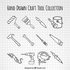 Hand Drawn Woodworking Tools Collection