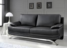 canapé cuir noir deco in canape cuir noir 3 places romeo can romeo 3p pu noir