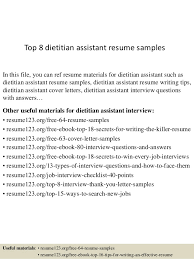 Top 8 Dietitian Assistant Resume Samples In This File You Can Ref Materials For