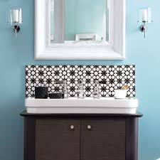 tile the wall above your bath vanity with graphic ceramic squares
