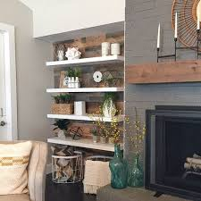 Modern Floating Shelves And A Rustic Planked Wall Reclaimed Barn Wood From Paint On The Fireplace Gauntlet Gray By Sherwin Williams Walls